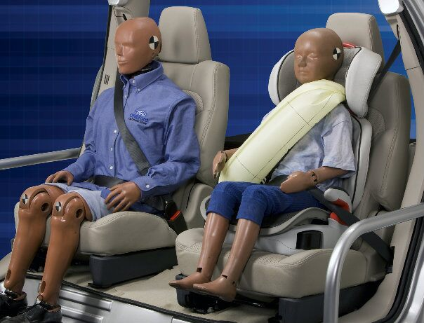 Ford has introduced the world's first inflatable seat belts for use in a mass-produced car. In an accident, compressed air blows up bags inside the belts to help dissipate impact forces over a larger area of the chest and torso, while also controlling head and neck motions to help prevent whiplash-type injuries.