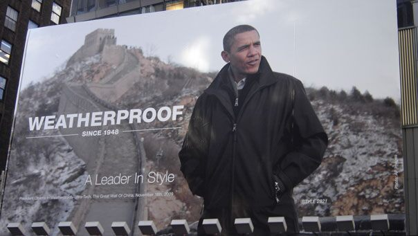 Brand Obama: Clothes company Weatherproof uses picture of President on giant Times Square billboard 010610 billboard doomsday 604x341