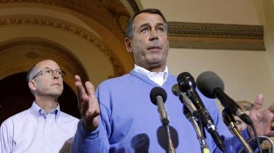 Nov. 10: House Speaker-in-waiting John Boehner of Ohio accompanied by Republican Majority Transition Chairman Rep. Greg Walden, R-Ore., speaks during a news conference on Capitol Hill. Boehner announced he plans to fly commercial as House Speaker.