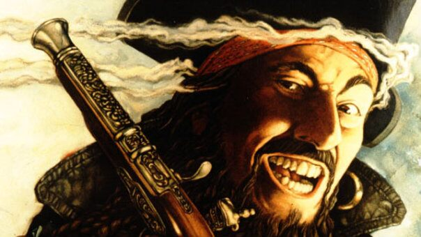 An illustration of the pirate Blackbeard, the captain of the ship Queen Anne's Revenge