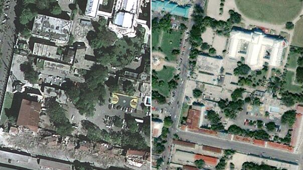 haiti before and after earthquake. Before and after satellite images show properties worth millions of dollars