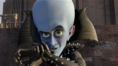 "FILE - In this film publicity file image released by Paramount and DreamWorks Animation, Megamind, voiced by Will Ferrell, is shown in a scene from the animated feature ""Megamind."" Will Ferrell's dastardly schemes continue to succeed, with the animated ""Megamind"" staying at the top of the box office. The DreamWorks Animation family comedy, featuring Ferrell as the voice of a super villain, made just over $30 million in its second week in theaters, according to Sunday studio estimates. It's now made nearly $90 million total. (AP Photo/DreamWorks Animation, Paramount Pictures, File)"